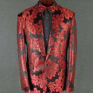 *Sold* Burgundy Baroque Style Brocade Tux